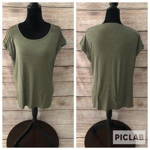 Rose+Olive  Olive Green Shirt with Gold detailing